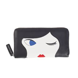 BLACK/CHALK  LULU DOLLFACE CONTINENTAL WALLET