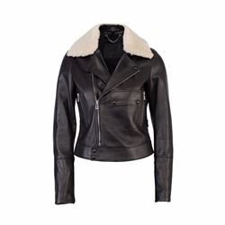 Belstaff Elspeth ladies leather jacket with sheepskin collar
