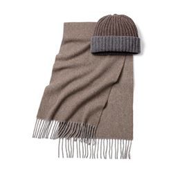 Scarf and Beanie set in brown by Hacket at Ingolstadt Village