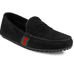 Gucci driver in black suede with green/red/green web detail
