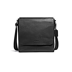 Coach Men's Black Charles Small Messenger in Leather
