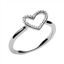 Links of London White Topaz/ Sterling Silver Heart Ring