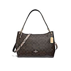 Coach Brown Black Multi Signature Exotic Mix Mia Shoulder Bag