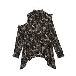 Black Bird Print Top