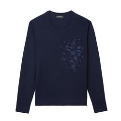 Navy Jumper With Flower Detail