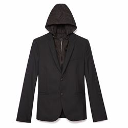 Men's mohair blazer with detachable hood