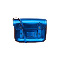 Tiny metallic blue satchel