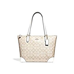 Coach Women's Chalk Signature Pvc Zip Tote