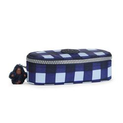 Kipling blue check small pencil case