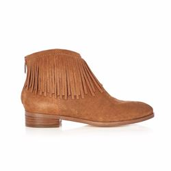 Karen Millen Tan leather fringe boots