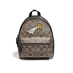 Coach QB/Khaki Gunmetal Multi Signature Glitter Patch Mini Charlie Backpack from Bicester Village