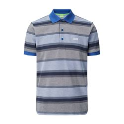 Medium blue striped polo