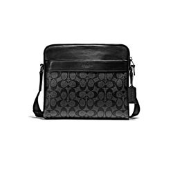 Coach Black Men's Charles Camera Bag in Signature PVC