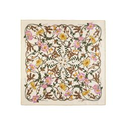 Gucci Women's ivory/yellow Flower Webby scarf