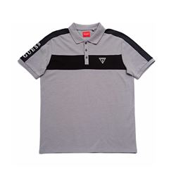 Guess Men's Grey and Black Stripe T-Shirt