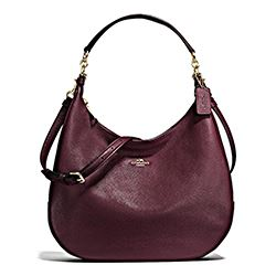 Coach pebbled oxblood hobo bag