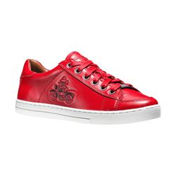 Coach Bright Red Porter Lace Up - Mickey from Bicester Village