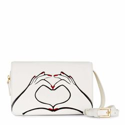 Lulu Guinness Heart hands Rene bag in chalk