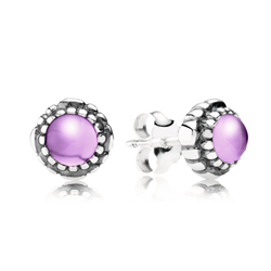 Silver Amethyst Stud Earrings Pandora