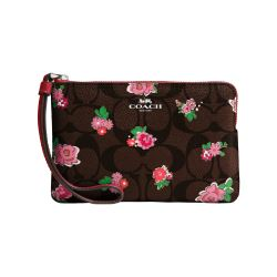 Cartera corner zip floral marrón Coach