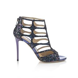 Jimmy Choo Ren 85 Petrol Coarse Glitter Fabric Sandals