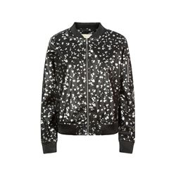 Printed Leather Bomber