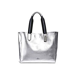 Coach Metallic silver Metallic large derby tote from Bicester Village