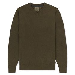 Musto V Neck Brown Knit Jumper