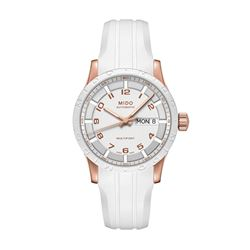 Mido Watch in white by Hour Passion at Wertheim Village