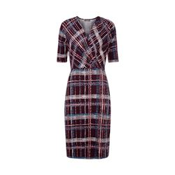 Graphic check tuck dress