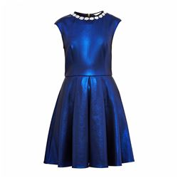 Ted Baker Ayma embellished neckline mid blue skater dress