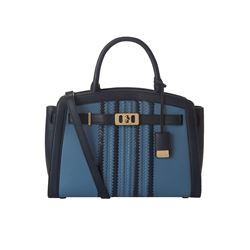 Michael Kors denim/navy Karson large satchel from Bicester Village