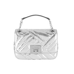 Michael Kors Silver Vivianne Shoulder Flap