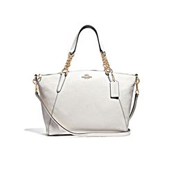 Coach Chalk Pebble Leather Small Kelsey Chain Satchel