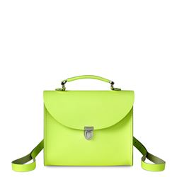 The Cambridge Satchel Company Poppy Backpack in Neon Yellow Saffiano