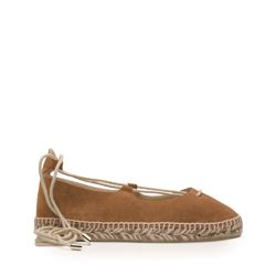 Brown leather espadrille