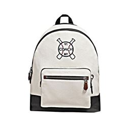 Coach West Backpack In Pebbled Leather With Baseball And Bats Motif