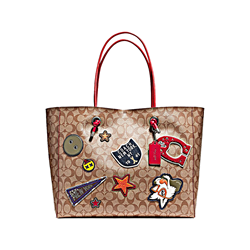 Varsity Patches Logo Shopping Tote Coach