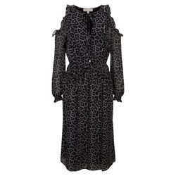 Michael Kors Black Leopard Cold Shoulder Dress