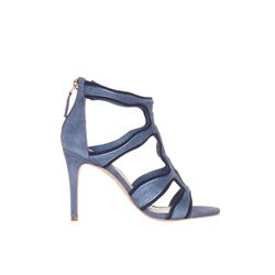 Sandro  Blue suede heeled sandals from Bicester Village