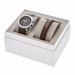 Fossil Chronograph brown leather watch and bracelet gift set