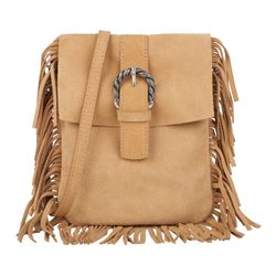Camel fringe bag