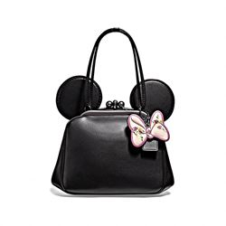 Coach black Minnie floral mix kisslock ear bag from Bicester Village