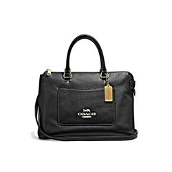 Coach black Pebble Leather Emma Satchel
