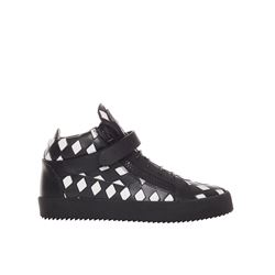 Giuseppe Zanotti White and Black Chequered shows from Bicester Village