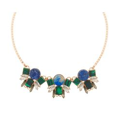 Swarovski Multi geometric gold statement necklace
