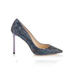 Jimmy Choo Romy 100 Petrol Coarse Glitter Fabric Pointy Toe Pumps