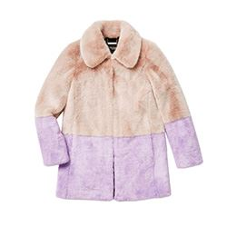 Juicy Couture Faux fur coat in blush pink and purple