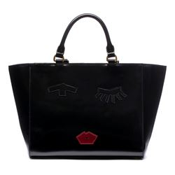 Lulu Guinness Taped face black polished bag