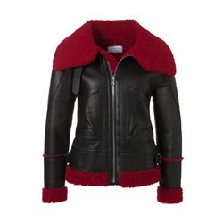 Leather jacket in black with red fur
